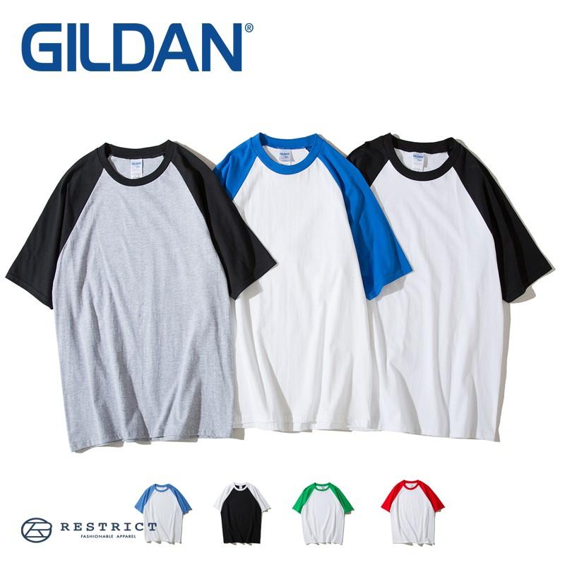 GILDAN 棒球短T 拼接棒球T 7色 男女可穿 76500