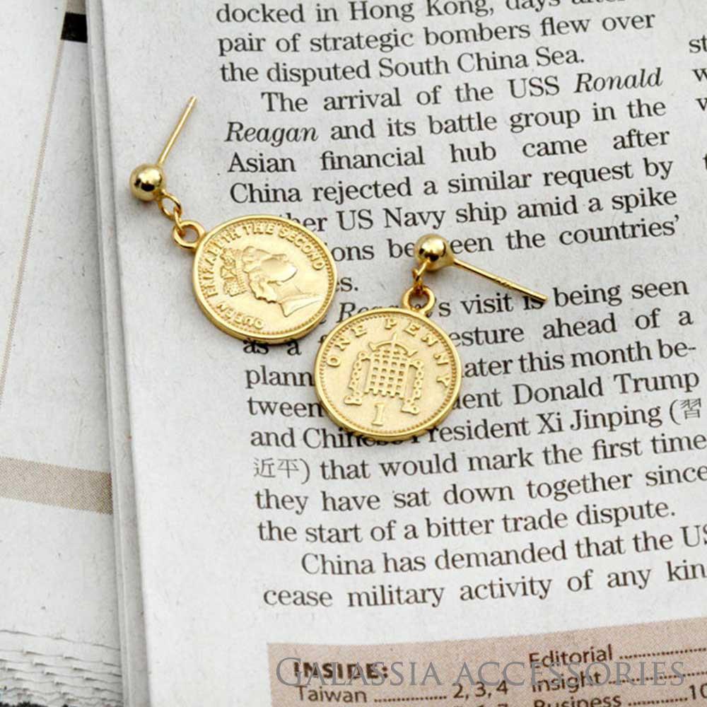 【現貨】 純銀飾品 S925純銀極簡風耳環-錢幣皇后 台灣現貨直送