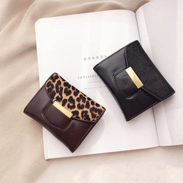 牛革&ホースファー素材 三つ折り財布 全2色