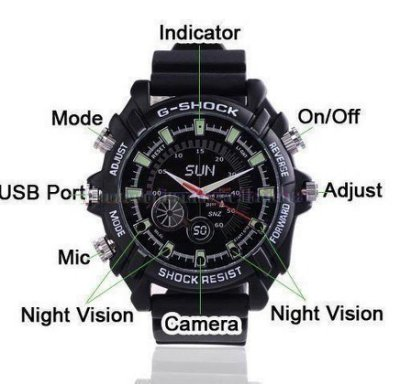 W1000 紅外線夜視 32G 高清運動防水手錶 針孔DV 1200萬像素動態19201080P 可單獨錄影拍照
