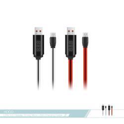 hoco.浩酷 LED智能定時 2A快充Micro扁線數據傳輸線(U29) 各廠牌適用/ 電源連接充電線