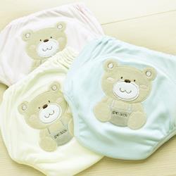 GMP BABY 舒適可愛熊超吸排純棉紗寶寶學習褲-黃色-XS-705