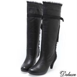 【Deluxe】中跟膝下長靴(蕾絲綁帶 黑)-629-21