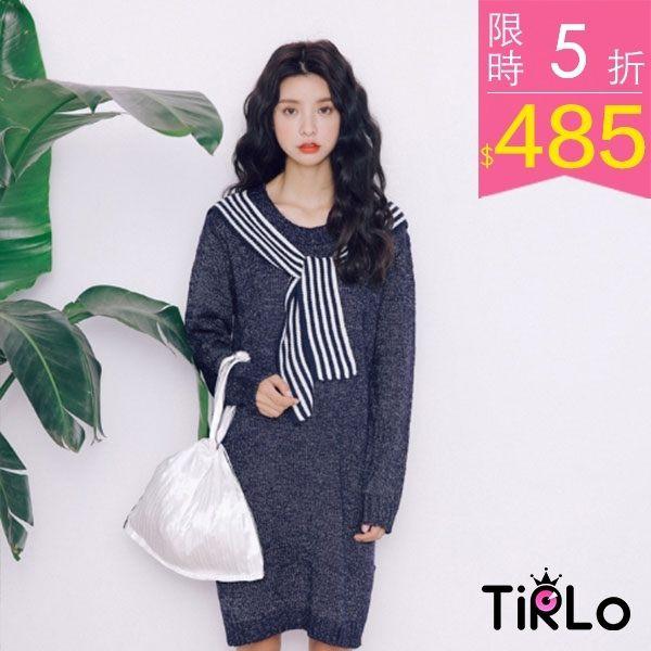連身裙-推薦 柔綿針織條紋領巾小開衩連身裙-三色-Tirlo