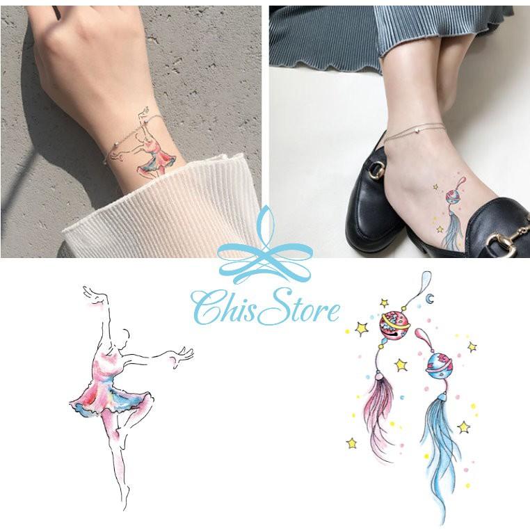Chis Store FN【彩色個性刺青貼紙】韓國 男女 性感 鈴鐺 小清新 羽毛 芭蕾 女孩 防水紋身貼紙 夏天