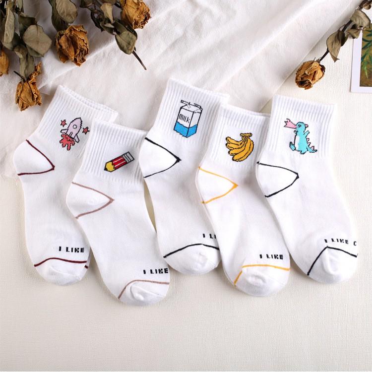 全棉潮牌女襪 香蕉牛奶卡通中筒襪子 透氣吸汗學生襪