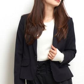 スーツジャケット - aimoha 【お家で洗える】美シルエットジャケット 裏ポケット レディース ジャケット 洗える ストライプ ブラック オフィス 通勤 入学式卒業式結婚式 フォーマル 大きいサイズ