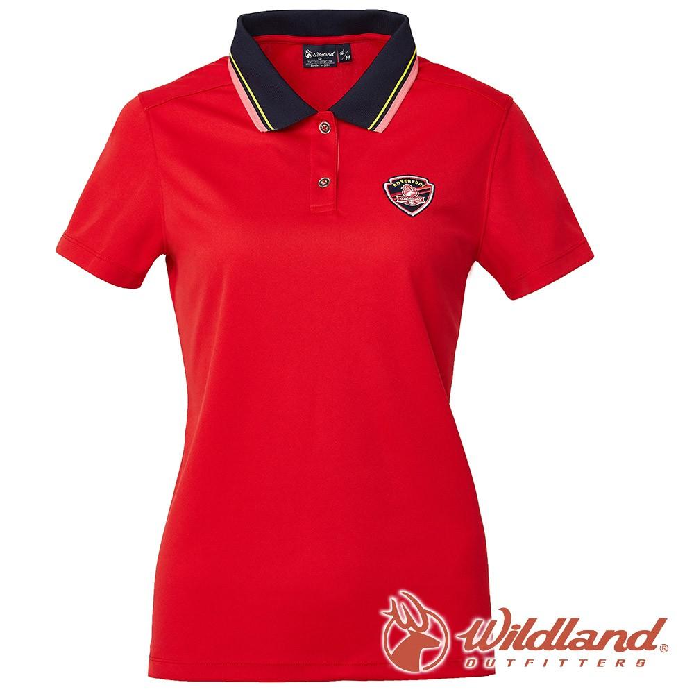 【wildland 荒野】女 COOLMAX 抗UV 排汗YOKE衣『紅色』0A61617