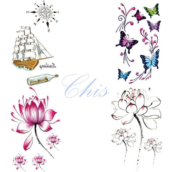 Chis Store FN【彩色個性刺青貼紙】韓國男女性感小清新原宿風 船 瓶中信 指南針 蝴蝶蓮花寫真 防水紋身貼紙