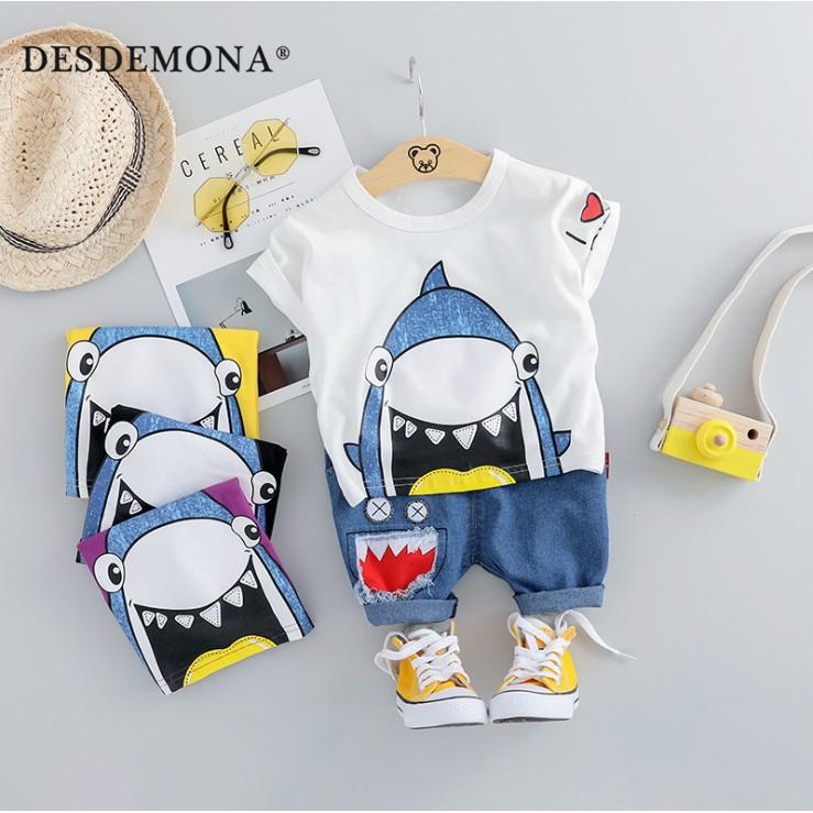 母嬰 夏季新款嬰幼兒童裝 小男孩夏天外出休閒卡通套裝男童夏季韓版鯊魚短袖短褲兩件套休閒套裝
