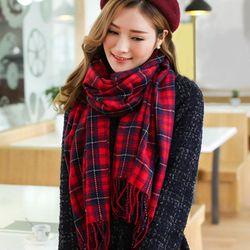 【幸福揚邑】百搭情侶羊絨質感格紋保暖圍巾/披肩-紅藍細格