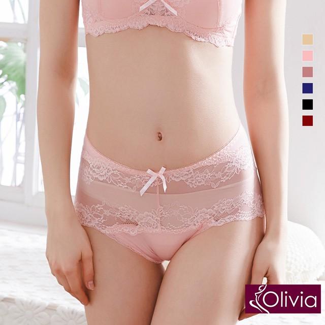 【Olivia】性感網紗蕾絲中腰內褲-粉色