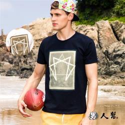 男人幫-超人氣百搭型男風  潮流燙金短袖純棉T 恤