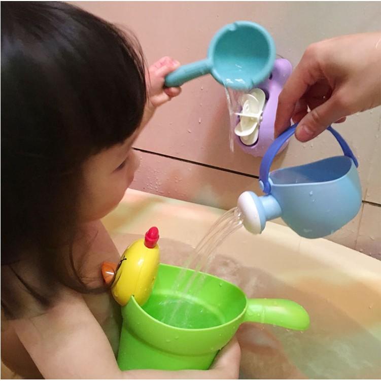 寶寶最愛浴室洗澡沐浴兒童嬰兒寶寶戲水玩具萌小雞洗頭杯水勺玩具四件套