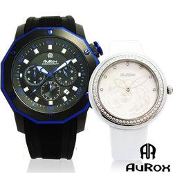 AuRox歐銳時 城市菁英三眼計時不銹鋼石英錶(AR295)送山茶花石英鑽女錶(AR1121)