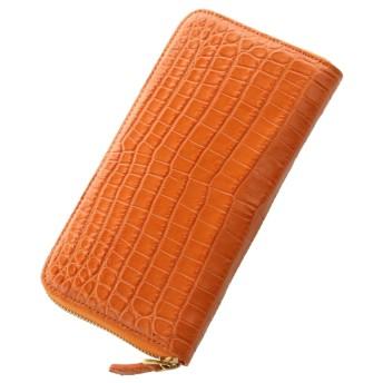 mieno 本物のクロコダイルレザー長財布ゴールドラウンドファスナー オレンジ×ダークブラウン