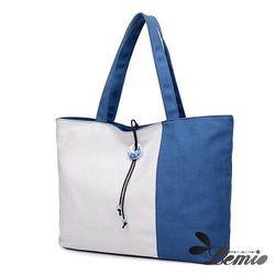 【Lemio】韓版學院風雙色帆布托特包