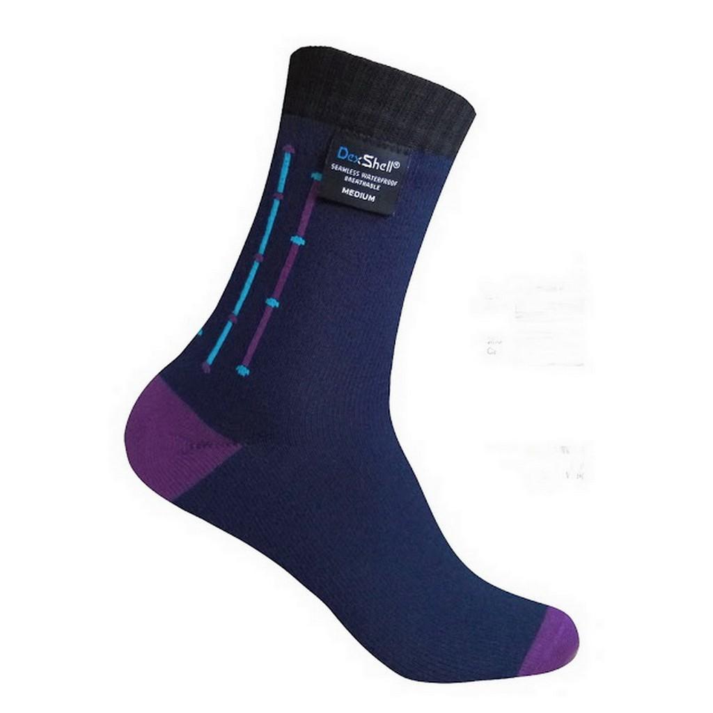Dexshell ULTRA FLEX 低筒-超薄超彈性 竹炭纖維條紋防水襪 海軍藍紫色