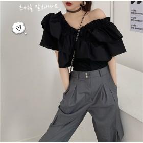 追加 限定発売 高品質で 正規品 韓国ファッション 夏 セクシー 深いVネック 半袖 トップス オフショルダー tシャツ レディース