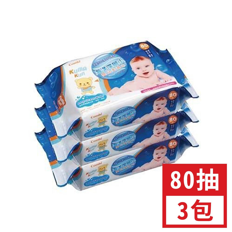 日本 Combi - Kuma Kun 庫瑪熊 海洋深層水嬰兒柔濕巾/濕紙巾-80抽x3包