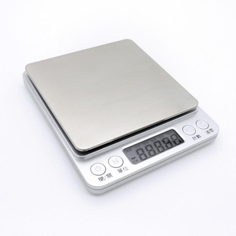 [台灣現貨][保固] 3000g/500g 中文版不鏽鋼電子秤 【LifeShopping】 料理秤 廚房秤 咖啡秤