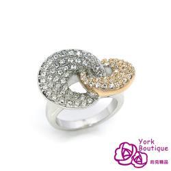 【約克精品】永不妥協施華洛元素晶鑽包銠金戒指(SGS認證)