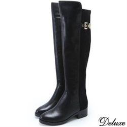 【Deluxe】全真皮拼接麂皮拉鍊扣飾膝上靴(黑)-182-19-B8