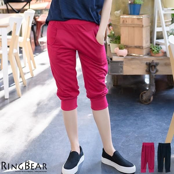 眼圈熊 中大尺碼 輕鬆休閒運動女孩腰頭褲管羅紋雙口袋運動七分褲(紅.藍XL-4L)-S75