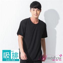 任-BeautyFocus  圓領格紋吸排短袖衫-黑色(3875)