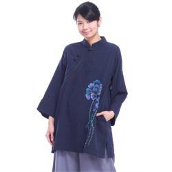 噶瑪蘭緹花純綿手繪立領盤扣加大碼八分袖長版上衣1入