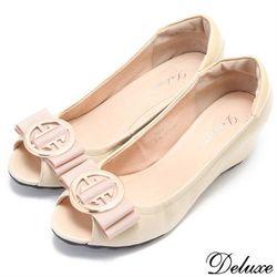 【Deluxe】全真皮時尚名媛蝴蝶結魚口內增包鞋(米)-208-2D