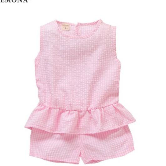 母嬰 女童爆款韓版 兒童時尚裙子全棉淑女格子兒童時尚無袖+短褲 女寶寶休閑倆件套母婴