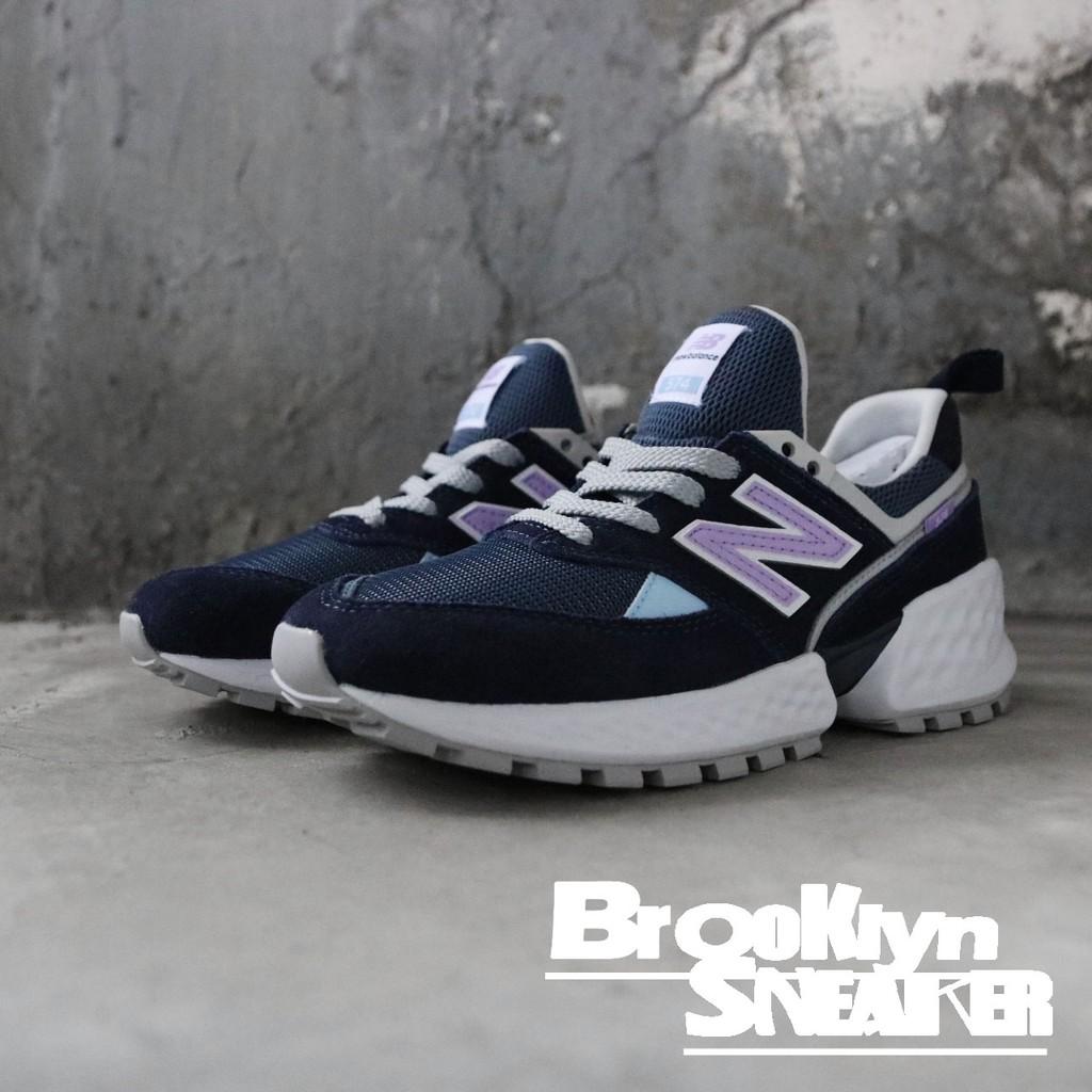 NEW BALANCE 新版574 IU代言 深藍 麂皮 紫 休閒鞋 老爹鞋 女 (布魯克林) MS574GNA