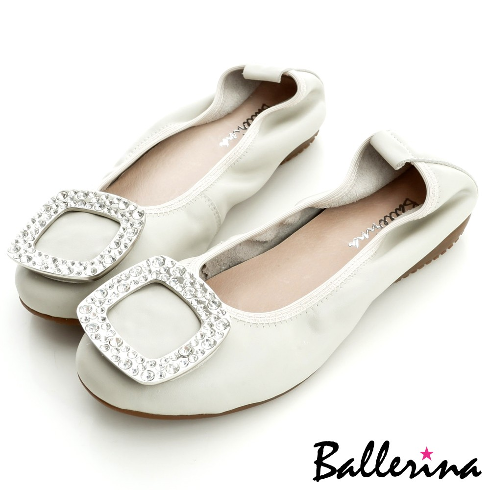 Ballerina-全真皮水鑽方釦娃娃鞋-灰【BD800244AY】