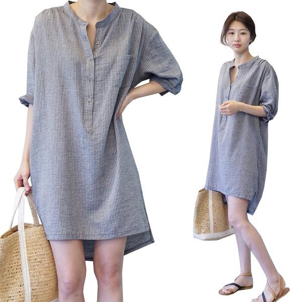 孕婦洋裝 立領條紋長版襯衫 連身裙 開扣哺乳衣 MIMI別走孕婦裝【P52468】