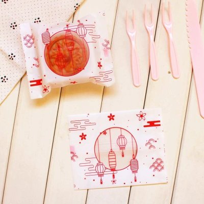 (10*13.5/95入)花好月圓包裝袋 磨砂 月餅包裝袋 蛋黃酥包裝袋 糖果袋 機封 曲奇餅乾 牛軋糖 平口袋