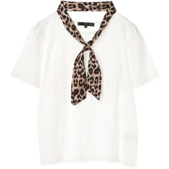 グリーンパークス Green Parks スカーフ付フレアスリーブTシャツ (Off White)