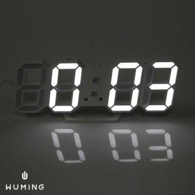 『無名』 立體數字 LED 創意 鬧鐘 時鐘 電子鐘 桌鐘 智慧感光 多色 交換禮物 聖誕節 N07105