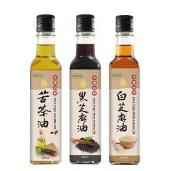 樸優樂活 冷壓初榨苦茶油+黑白麻油(250ml/瓶)三罐組