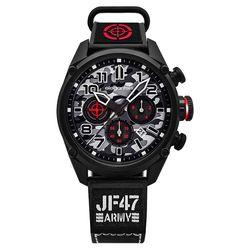 elegantsis Army 戰地迷彩三眼計時套錶-灰x黑/48mm ELJF47-6G01MA