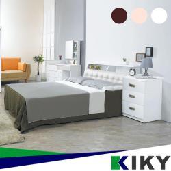 KIKY 小次郎皮質加高三件組 雙人5尺(床頭箱+床底+三抽櫃)