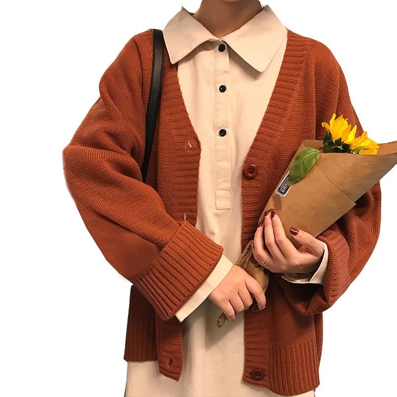 新款韓系慵懶可愛鈕扣針織開衫秋季素色寬鬆毛衣外套女
