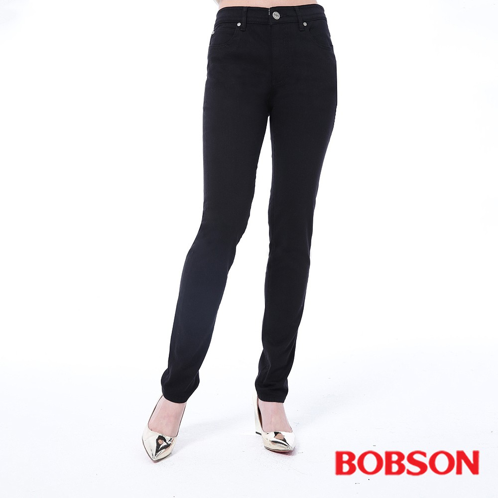 BOBSON 女款高腰膠原蛋白拉毛小直筒褲8140-87