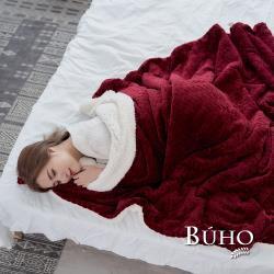 BUHO 文青感質純色法蘭絨/羊羔絨雙層暖絨毯-150x200cm(傲嬌紅)