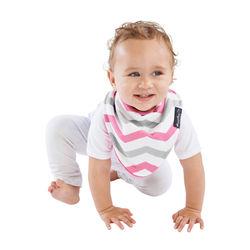 【Mum 2 Mum】雙面時尚造型口水巾圍兜-條紋桃紅