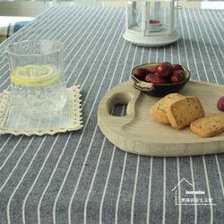 【協貿】時尚簡約百搭棉麻條紋深藍色桌布