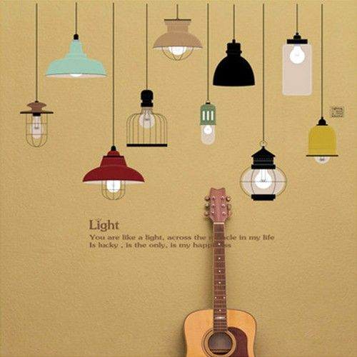 JB Design - 時尚壁貼-歐式手繪吊燈 (70cm*50cm)