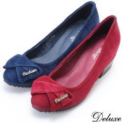 【Deluxe】全真皮造型時尚反摺蝴蝶結低跟包鞋(紅☆藍)-926-5
