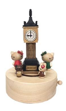 鼎飛臻坊 Hello Kitty 凱蒂貓 蒸汽時鐘造型 木製音樂盒 日本正版