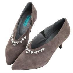Robinlo 華麗感立體鑽飾羊絨尖頭細跟鞋 MULLER-灰色